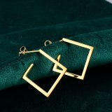 E04 Korean Simple Elegant Personalized Square Stud Earrings Fine Titanium Steel Plated 18K Rose Gold Earrings Female Earrings