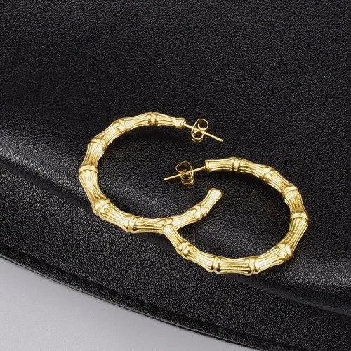 E101 Earrings Wholesale New Fashion C- Shaped Fashion French Temperament Titanium Steel 18K Gold Earrings Stud Earrings