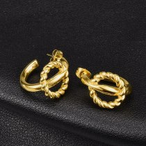 E56 Earrings Wholesale Japanese and Korean Style Simple Personalized Twist Double Wire Titanium Steel 18K Gold Stud Earrings