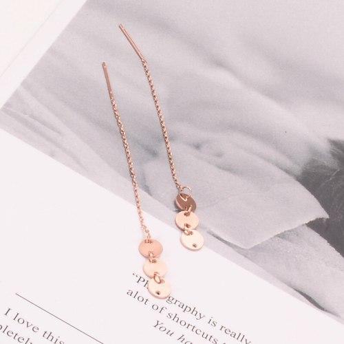 E02 Long Small Round Slice Hanging Earrings Women's Elegant Earrings Korean Style Fairy 18K Rose Gold Stud Earrings