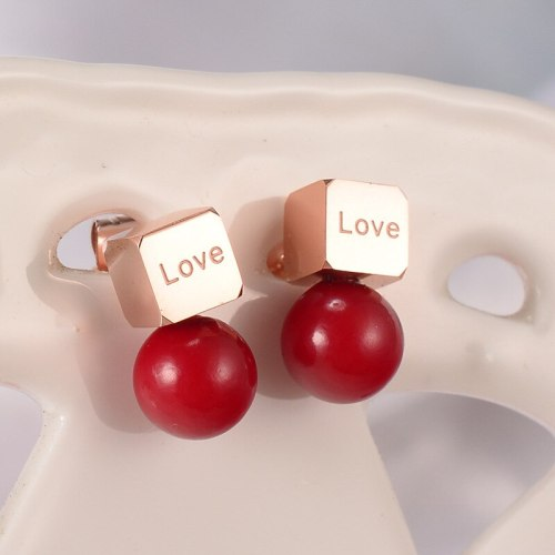 E75 European Titanium Steel 18K Rose Gold Square Red Pearl Stud Earrings Women's Elegant Korean Earrings Simple Ear Jewelry