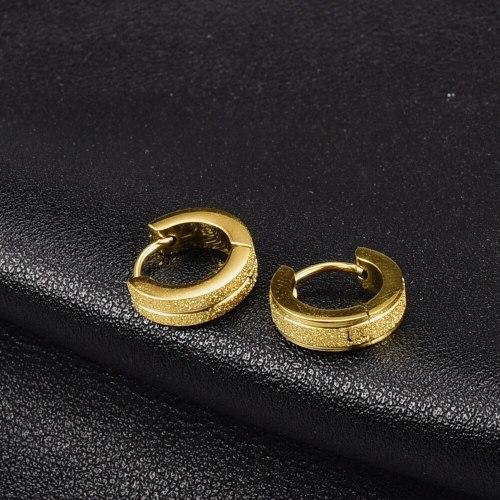 J12 Earrings Wholesale European and American Style NS Metal Earrings Circle Pressed Sand Titanium Steel Plated 18K Gold Earrings