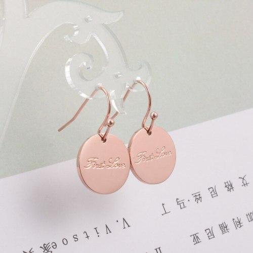 E81 18K Rose Gold Plated Earrings Simple Geometric round Brand Korean Letter Stud Earrings
