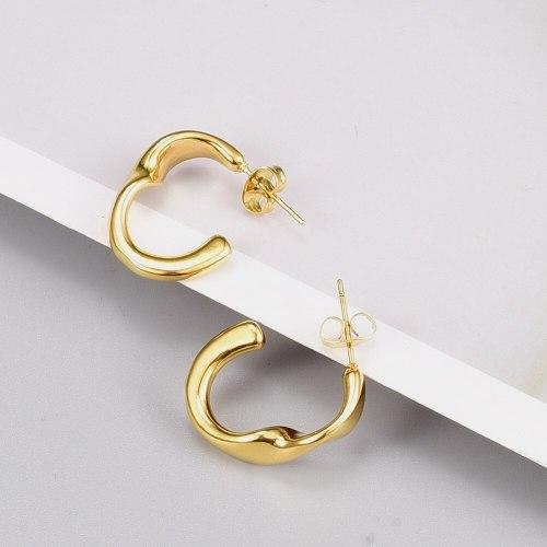 E98 European and American Temperament Metal Irregular Earrings Curved Symmetrical Plated 18K Gold Stud Earrings for Women