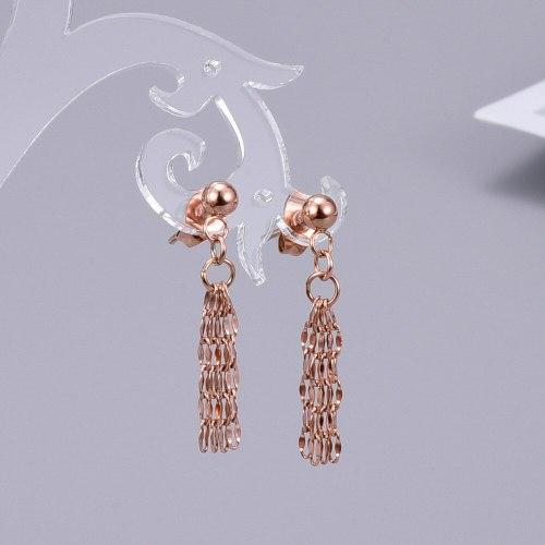 E45 Titanium Steel Lip 18K Gold Stud Earrings Silver-Strip Gold Bean Earrings Simple Korean Tassel Multi-Layer Earrings