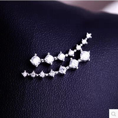 E34 Korean Style Stud Earrings Simple Shiny Diamond Ear Clip 925 Auricular Needle Earrings Jewelry