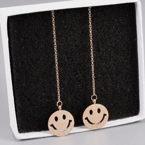 L63 Earrings Wholesale Smiley Face Hanging Earrings Women's Titanium Steel Smile Earrings Fashion Simple Women's Small Earrings