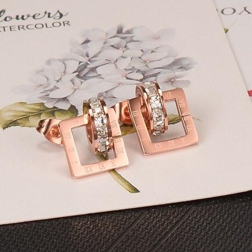 E94 Earrings Wholesale Rose Gold Small Square Diamond Earrings Titanium Steel Women's Stud Earrings Korean Jewelry