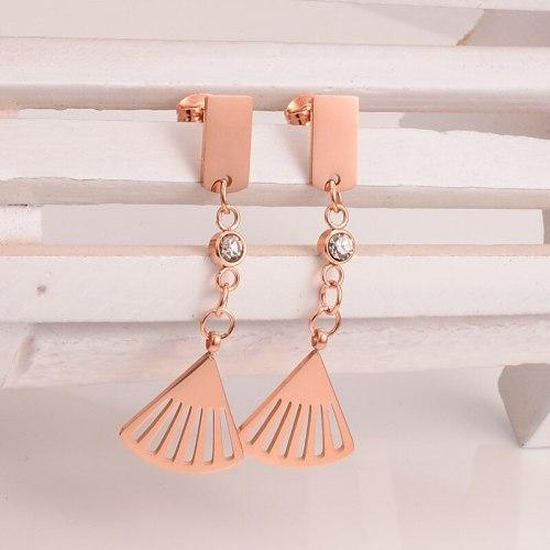 E80 Korean Style Fashion Tassel Small Fan-Shaped Earrings Titanium Steel Rose Gold Earrings 18K Stud Earrings