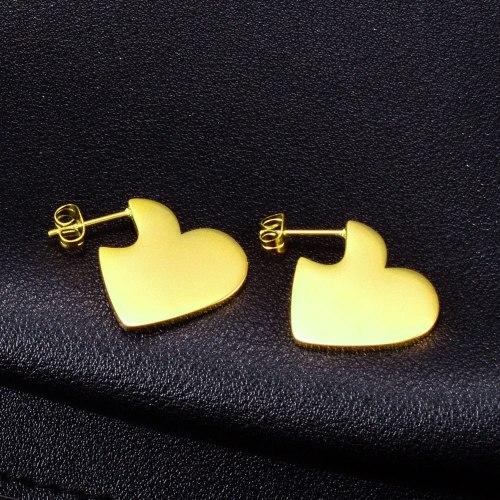 E63 Simple Metal Heart Stud Earrings Sweetheart Glossy Gold Titanium Steel Lovely Earrings