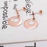 E108 Women's Titanium Steel Earrings 18K Rose Gold Korean Elegant Tassel Simple Ring Earrings Mori Stud Earrings