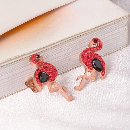 E124 Korean Style Flamingo Stud Earrings Titanium Steel Rose Gold Earrings Korean Style Personalized Simple Jewelry