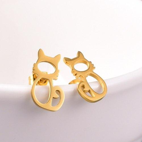 E82 Earrings Wholesale Cat Rose Gold Earrings Fashion Korean Popular Titanium Steel Stud Earrings