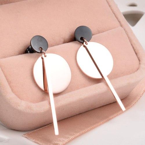 E47 Korean Fashion Retro Black Wafer Stick Matching Earrings 18K Titanium Steel Gold Plated Jewelry