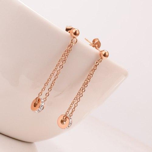 E101 Earrings Wholesale 18K Rose Small Steel Ring White Diamond Earrings Korean Fashion Tassel Long Earrings