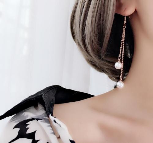 E104 Earrings Wholesale Korean Style Simple Long Tassel Pearl Titanium Steel 18K Rose Gold Long Earrings