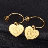 E59 Titanium Steel Love Ear Hook Fashion Short Simple Earrings Stud Earrings 18K Gold Jewelry