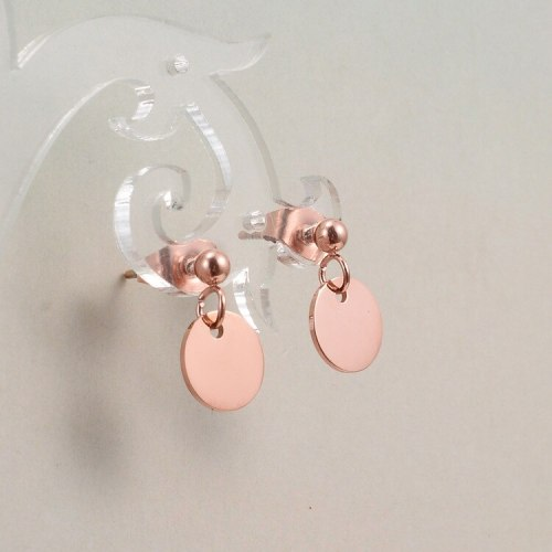 E111 New Small Round Slice Earrings Simple Fashion Small Rose Gold Women's Stud Earrings Titanium Jewelry