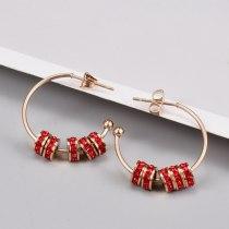 C- Shaped Stud Earrings Titanium Steel 18K Rose Gold Simple Red Diamond Circle Fashion Titanium Steel Earrings