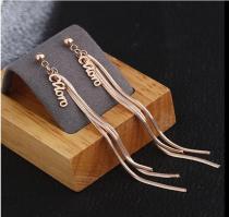 E111 New Elegant Long Tassel Titanium Steel Rose Gold Stud Earrings Personalized Fashion Earrings Female Fashion Earrings