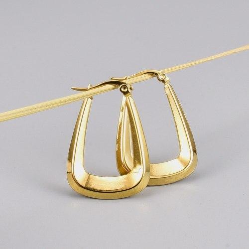 E25 Retro Fashionable Popular 18K Gold Titanium Steel Stud Earrings European and American Hollow Earrings