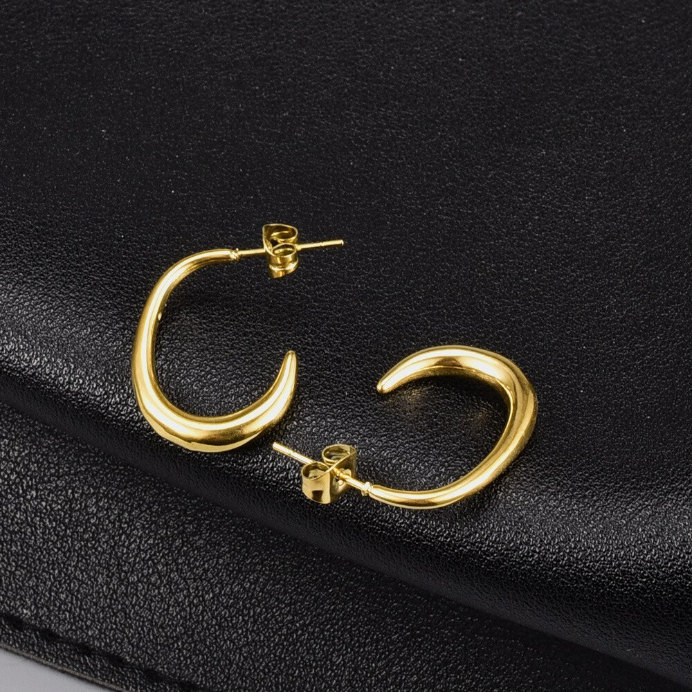 E97 European and American Simple Fashionable Earrings Personality Metal Titanium Steel Geometric 18K Gold Curved Stud Jewelry