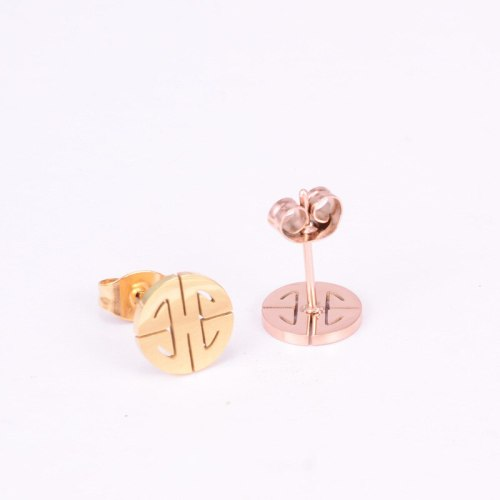 E55 18K Gold & Small Blessing Card Rose Gold Stud Earrings Simple Cold Style Graceful Personality Fashion Ornament