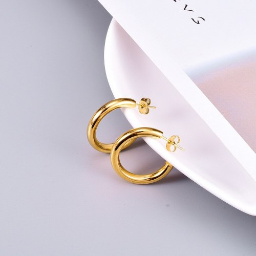 E133 Daily European and American Ins Fashion Aperture Earrings Simple Metal Gold Plated Thick Circle Ear Studs