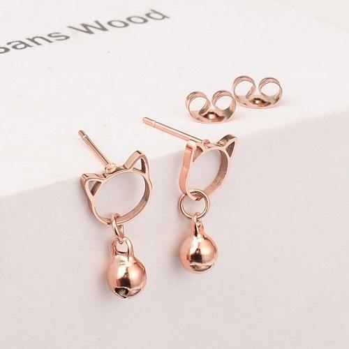 E54 Wholesale Titanium Steel Rose Gold Cat Stud Earrings Cute Bell Short Earrings Temperament Korean Simple Accessories