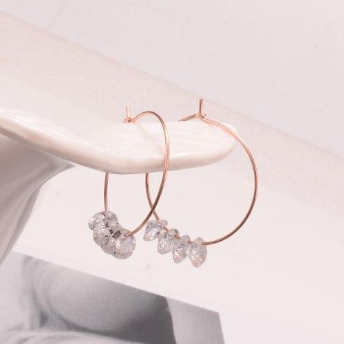 E97 Wholesale Artistic Fresh Titanium Steel Rose Gold Fashion Shining Geometric Shining Diamond Zircon Eardrop Earring