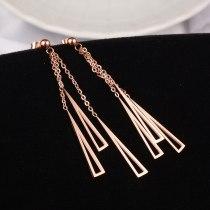 E23 Rose Gold Triangle Tassel Titanium Steel Ear Studs 18K Gold Ornament European and American Style