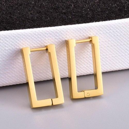 E37 Wholesale Industrial Geometric Wind Geometry Rectangle Ear Clip Eardrop Earring Titanium Steel 18K Gold Plating