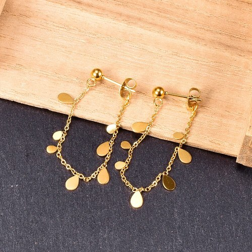 E81 Tassel Chain Bright Water Drop Sequins Beautiful Hanging on Back of Ear Stud Earrings Titanium Steel Gold Plated Women's