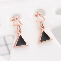 E03 New Japanese Korean Style Titanium Steel Triangle Drop Stud Earrings 18K Rose Gold European and American Style Earrings