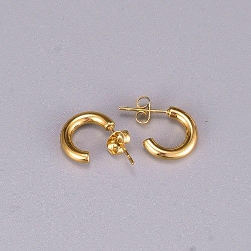 E34c-Shaped Stud Earrings Japanese and Korean Personality Half-Side Earrings Mori Style Ins Titanium Steel 18K Gold Plating