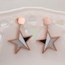 E125 Temperament Personality Rose Gold Pentagram Short Eardrops Earrings European and American Simple Fashionmonger Earrings