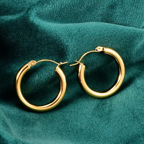 E58 Korean Fashion 18K Gold Plated European and American Ins Style Simple Graceful Small Coarse round Hoop Earrings