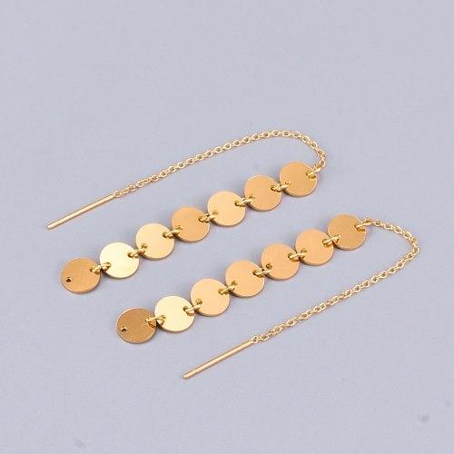 E23 Korean Style Personalized Simple Wafer Long Rose Gold Titanium Steel Tassel Ear Studs One Two-Ear Line Earrings