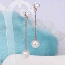 E18 Titanium Steel Pearl Earrings Japanese Korean Stylish Retro Minimalism Sweet Rose Gold Eardrop Jewelry