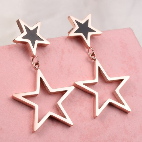 E105 Exaggerated Black Film Big and Small Pentagrams Colored Gold Stud Earrings Titanium Steel Rose Gold Plated Ornament
