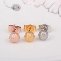 E38 Frosted round Beads Rose Gold Earrings Korean Jewelry Popular Hot Small Beads Earrings