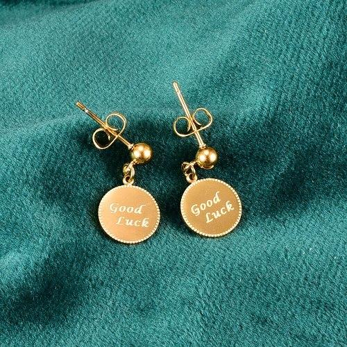 E119 Wholesale Mini Luck Letter Brand Small Golden Beads Stud Earrings Student Titanium Steel 18K Gold Plating