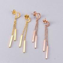 E30 Fashion Letter Tassel Stick Stud Earrings Titanium Steel Rose Gold Plated Temperament Personalized Ear Jewelry