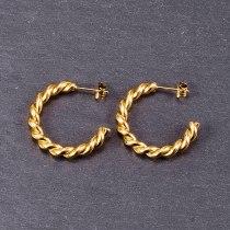 E119 18K Gold Plating Twist Wave European and American Style Metal Hollow Ins Hoop Earrings Retro Stud Earrings Ear Ring