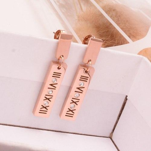 E123 Elegant Roman Retro Girl Korean Personalized Long Rose Gold Earrings Korean Fashion Simple Earrings