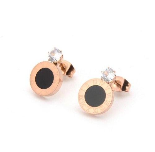 E20 Wholesale Titanium Steel Rose Gold Roman round Cake Single Rhinestone Earrings Fashion 18K Clavicle Chain Korean Temperament