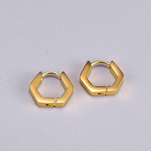E71 Wholesale Geometric Style Hexagon Ear Clip Fashion Eardrop Earring Titanium Steel 18K Gold Plating