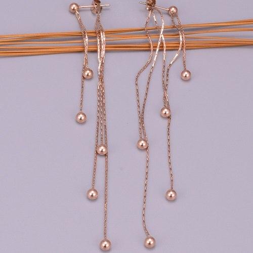 E45 Japanese and Korean Temperamental Knot Chain Multi-Steel Ball Rose Gold Tassel Ear Studs Long Beads Earrings Jewelry