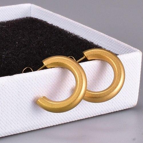 E59 Vintage Sandblast C- Shaped Earrings Titanium Steel Earrings Cold Wind Exaggerated Earrings 18K Gold Ear-Ring Clip Elf Women