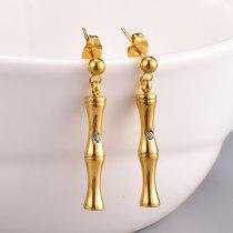 E27 Fashion Shining Bamboo Stick Chain Eardrop Earring 18K Gold Titanium Steel Street Exaggerated